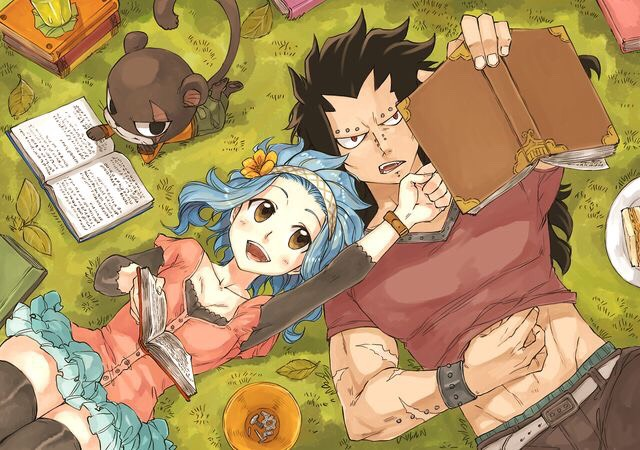 This is from Fairy Tail, a show/magna about a girl named Lucy who joins a wizard guild. This is not Lucy in the picture this is my personal favorite Levy. Levy is like my self because she is a total book worm and yet she is still useful many times. The man in the picture Gajeel.