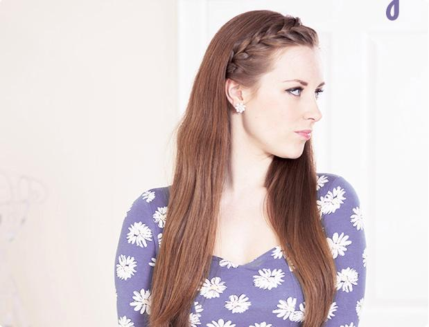 To create this braided bang look, section off your bangs and begin braiding right at the hairline. Continue all the way down and back behind your ear. Secure with bobby pins and you're good to go!