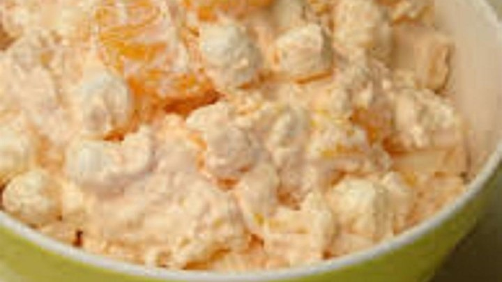 If your in the mood for something sweet try this amazing fruit salad!  1 16 oz container of cottage cheese 1 regular size container of whipped cream  1 regular size box of orange jell-o mix 1 large can of pineapple tidbits (drain juice out) 2 regular size cans of mandarin oranges (drain juice out)