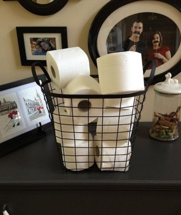 A simple basket to store your toilet paper.