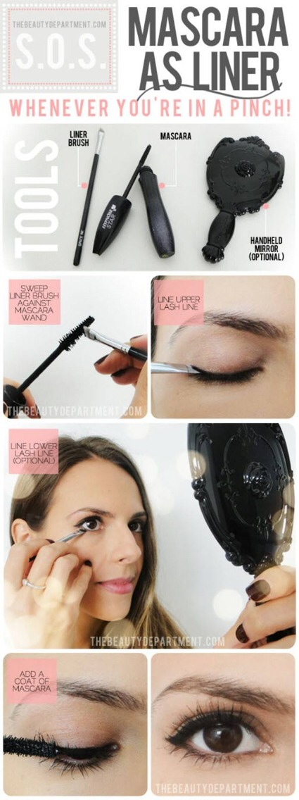 Use your mascara as eyeliner   (You might need to click on some of these to see them in full)