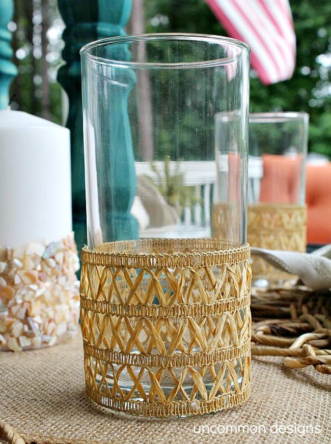 super simple Faux Rattan Beverage Coozies
