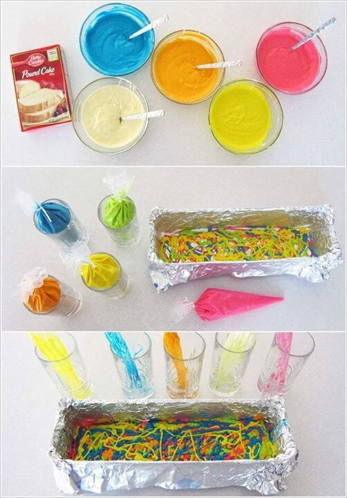 Make the cake batter according to the box instructions. Then divide this batter into 5 equal parts. Add rainbow colors to each and fill them in separate piping bags. Now pipe the batter in the container as shown and bake.