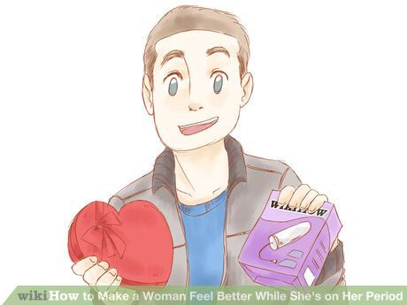 """This will just make her feel like you don't care. Another part of this step is to be willing to run errands for her. Go get her the supplies she is out of, (thinking of sanitary items as """"girl stuff"""" is immature and unhelpful, tampons, etc.)"""