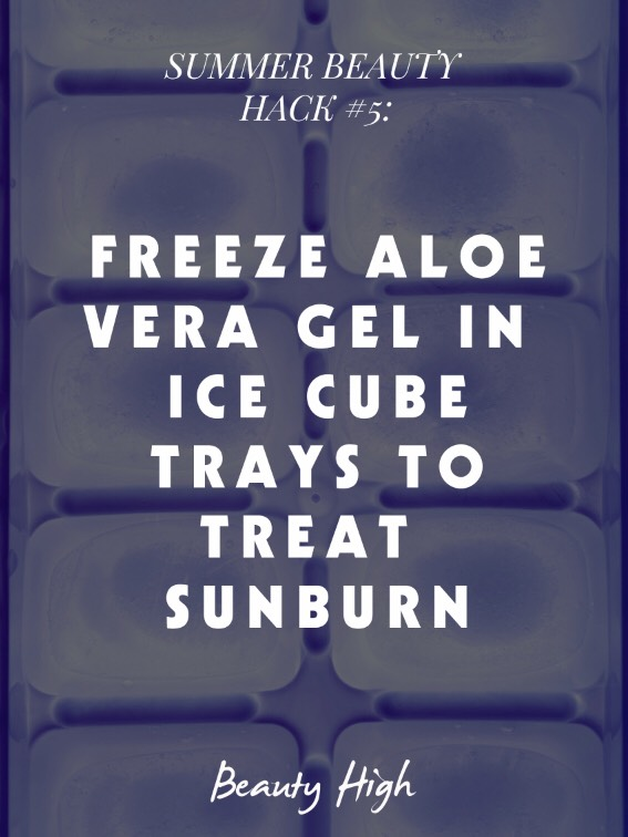 Cool down sunburns with frozen aloe vera gel👍😱