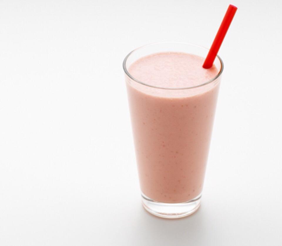 Simple Strawberry Surprise  - Serves 1 person 1 plain nonfat yogurt 1 banana 1/2 c orange juice  6 frozen strawberries