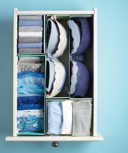 Add spacers to drawers to separate clothing.