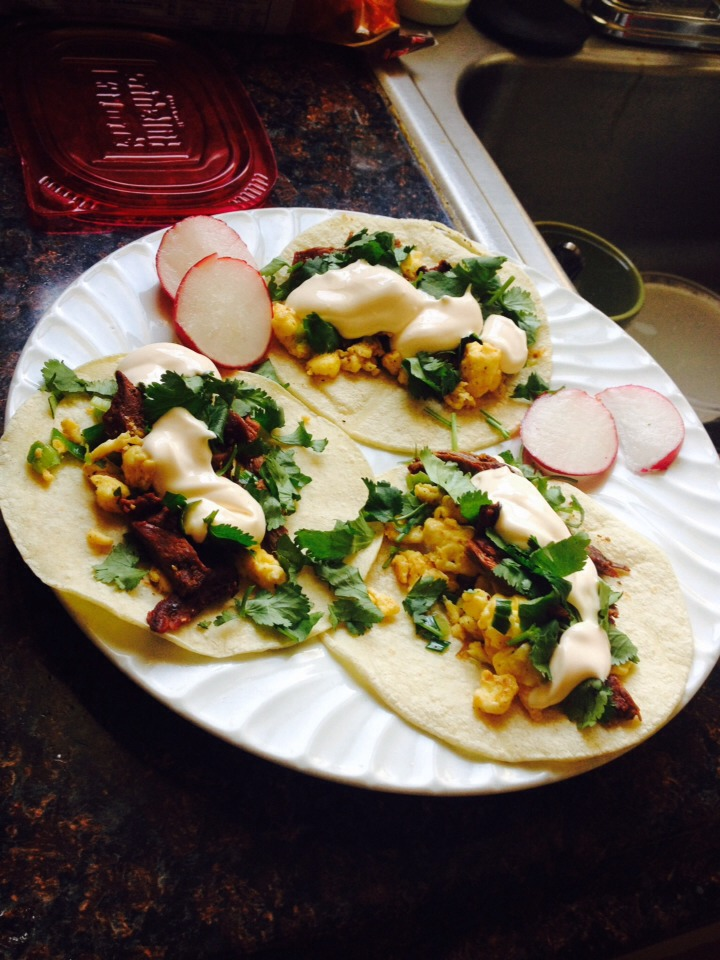 Warm up some tortillas & make your tacos top with sour cream & enjoy!!