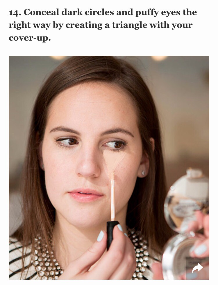 You might be a fan of dotting on your concealer in the spots you need it, but the best way is it to actually apply it in a triangular formation with the base of the triangle directly under your lashline and the point toward the bottom of your cheek.
