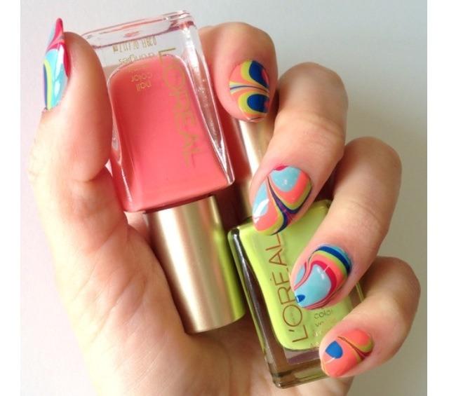 3. Water marbling nails