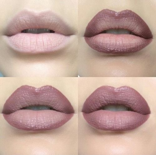 4. Ombre your lips to make them look fuller. To make your lips look fuller, you can use an ombre technique with your lip products. Put a darker color on the outer corners and a lighter color in the center to make your lips appear more pouty.