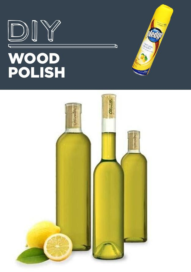31. DIY Wood Polish Mix 2 parts oil (preferably linseed oil or olive oil) with one part lemon juice. Apply and polish with a soft cloth. Buff with beeswax and a microfiber cloth for added shine.