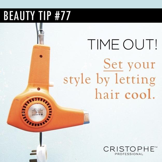 17. Set your hairstyle by blasting it with cool air when you're done. Alternating between heat and cool-down helps to set your style.