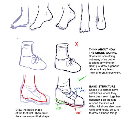 Here is how to draw her feet.