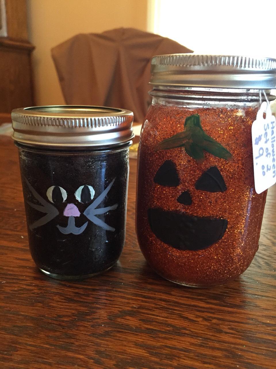 Make Halloween themed mason jars to decorate