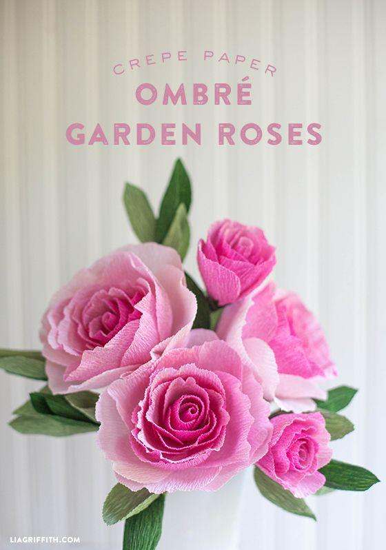 DIY ombre garden roses! Make these from paper and make an everlasting staple to your room or your home. These are so so so so so easy to make, and very beautiful to stick anywhere you'd like. Make them here:  http://liagriffith.com/diy-crepe-paper-ombre-garden-roses/