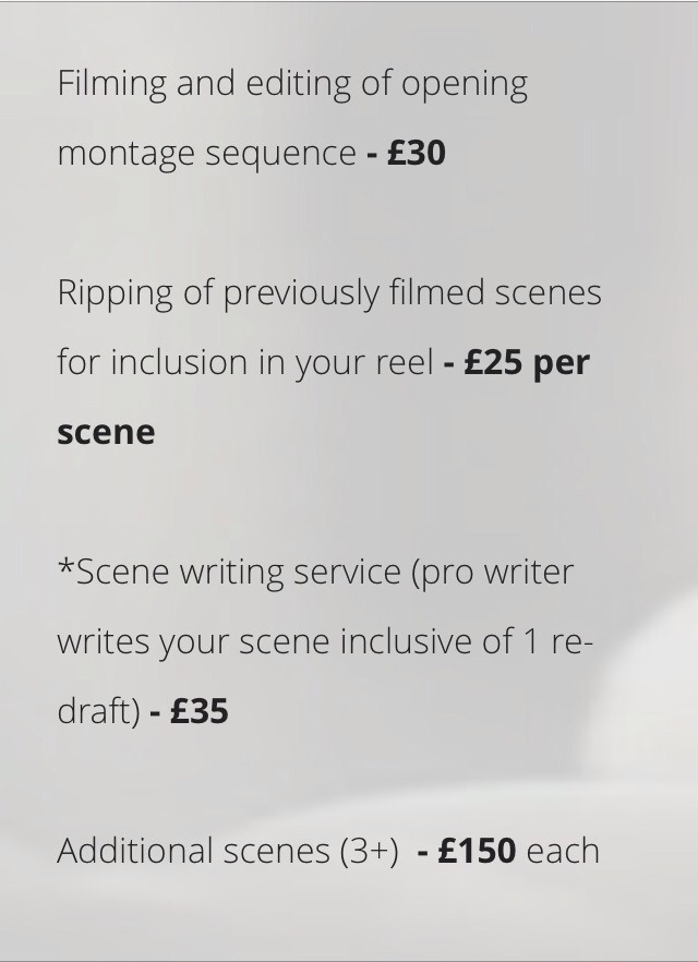If you actually want the showreel to look good and professional, there are additional costs for that.  There's even extra costs if you want another actor in the scene!