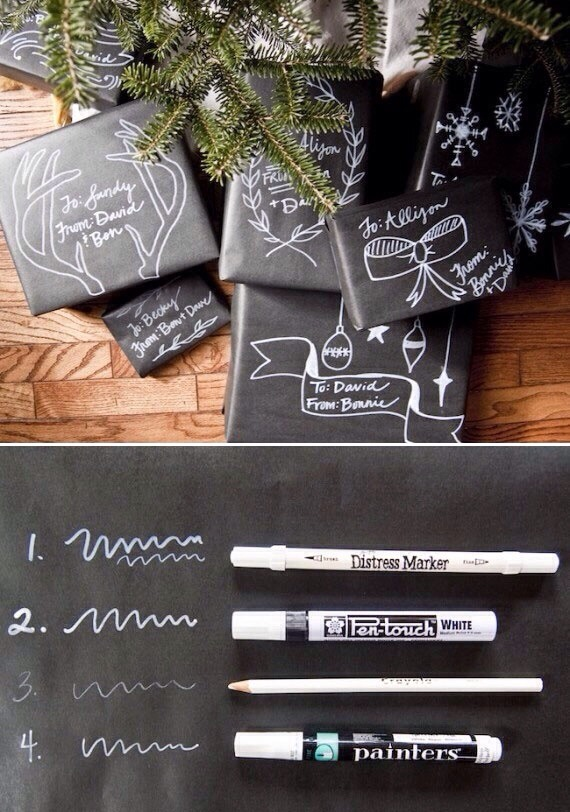 Wrap Gifts With Solid Black Paper And Decorate With White