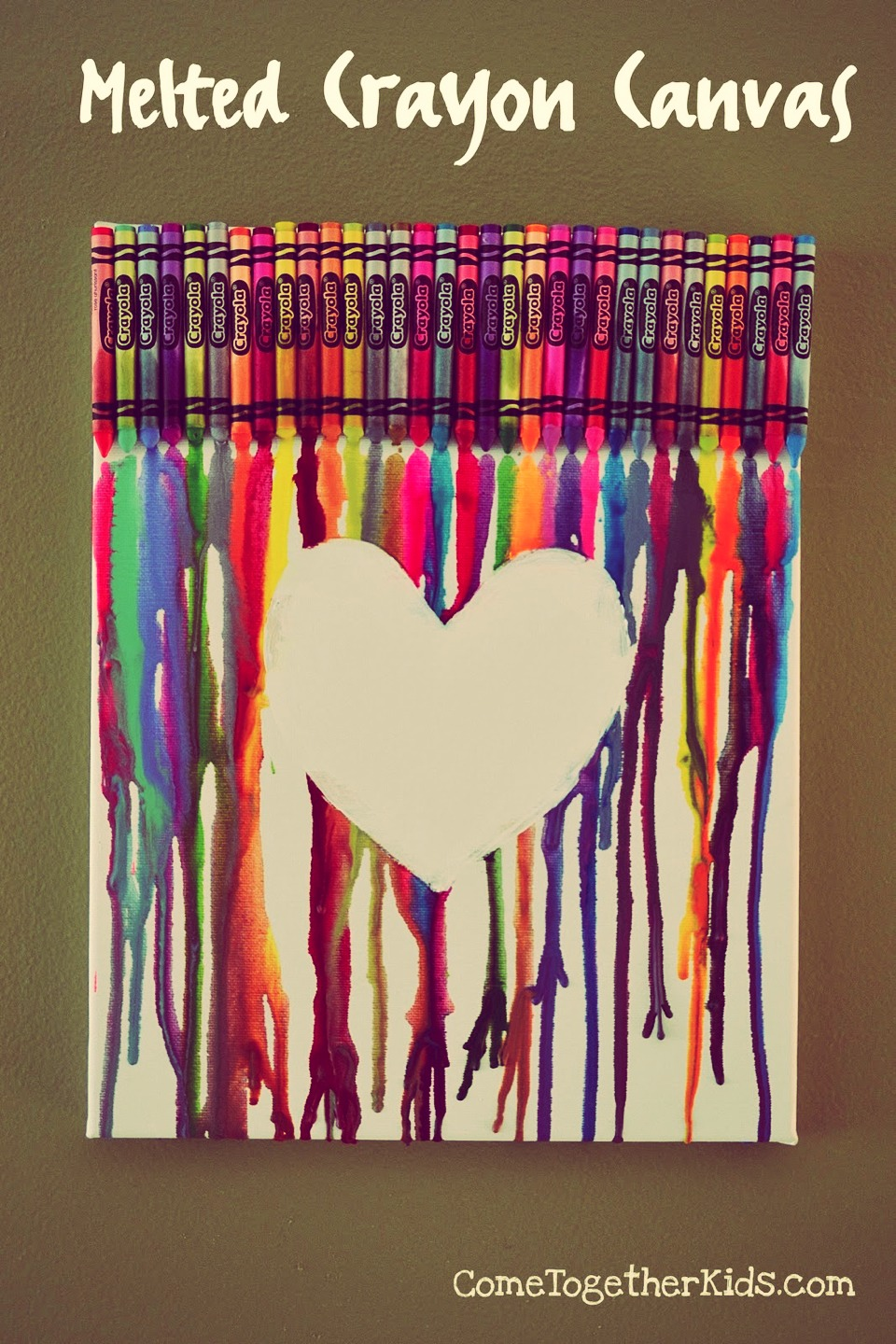 Hot Glue Crayons To The Top Of A Canvas And Then Use Hair Blower On