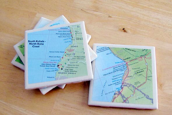 Tile  coasters: Map pages glued to plain white tiles and  sealed with decoupage medium, create a lovely set of coasters.