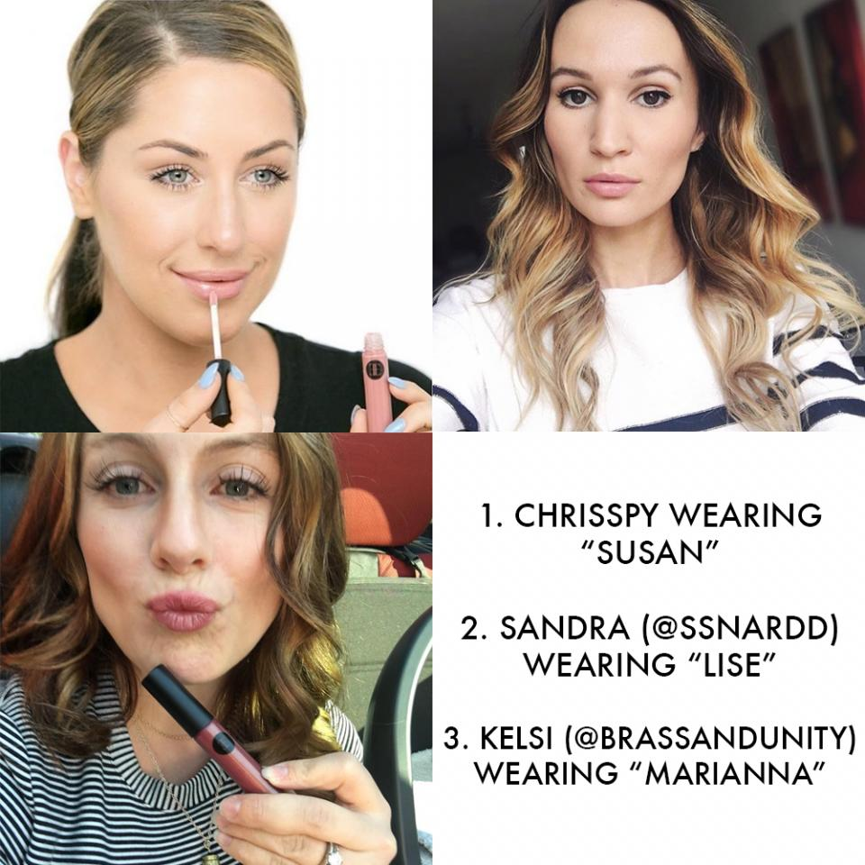 """They don't skimp on ingredients or on pigmentation.   These influencer swatches will convince you they're legit both in color and in composition! In clockwise order: 1. @Chrisspy rocking """"Susan"""" for a naturally polished look  2. @ssnardd stunting in a simple, glowing look with """"Lise""""  3. @brassandunitygetting her fall glam with """"Marianna"""""""