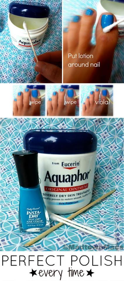 14. Apply Aquaphor or Vaseline to cuticles to protect your skin from errant nail polish strokes.