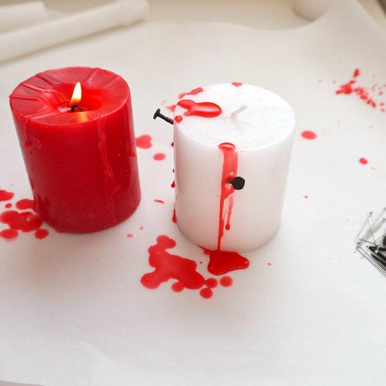 Directions:  Start by covering your work area with parchment paper and then removing any stickers or plastic covering from candles. You can find white and red candles at the dollar store, which makes this project seriously budget friendly.