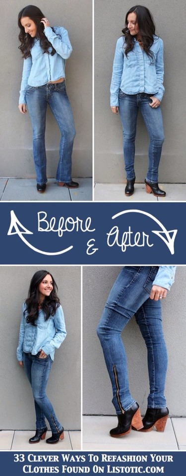 DIY Turn Jeans Into Skinny .  This one require a sewing machine and little bit of skill, but it might just turn those boot cut jeans that you never wear into your new favorite pair.I have a stack of boot cut jeans just like this in my closet that I could use this for!The zipper is a nice touch, too.