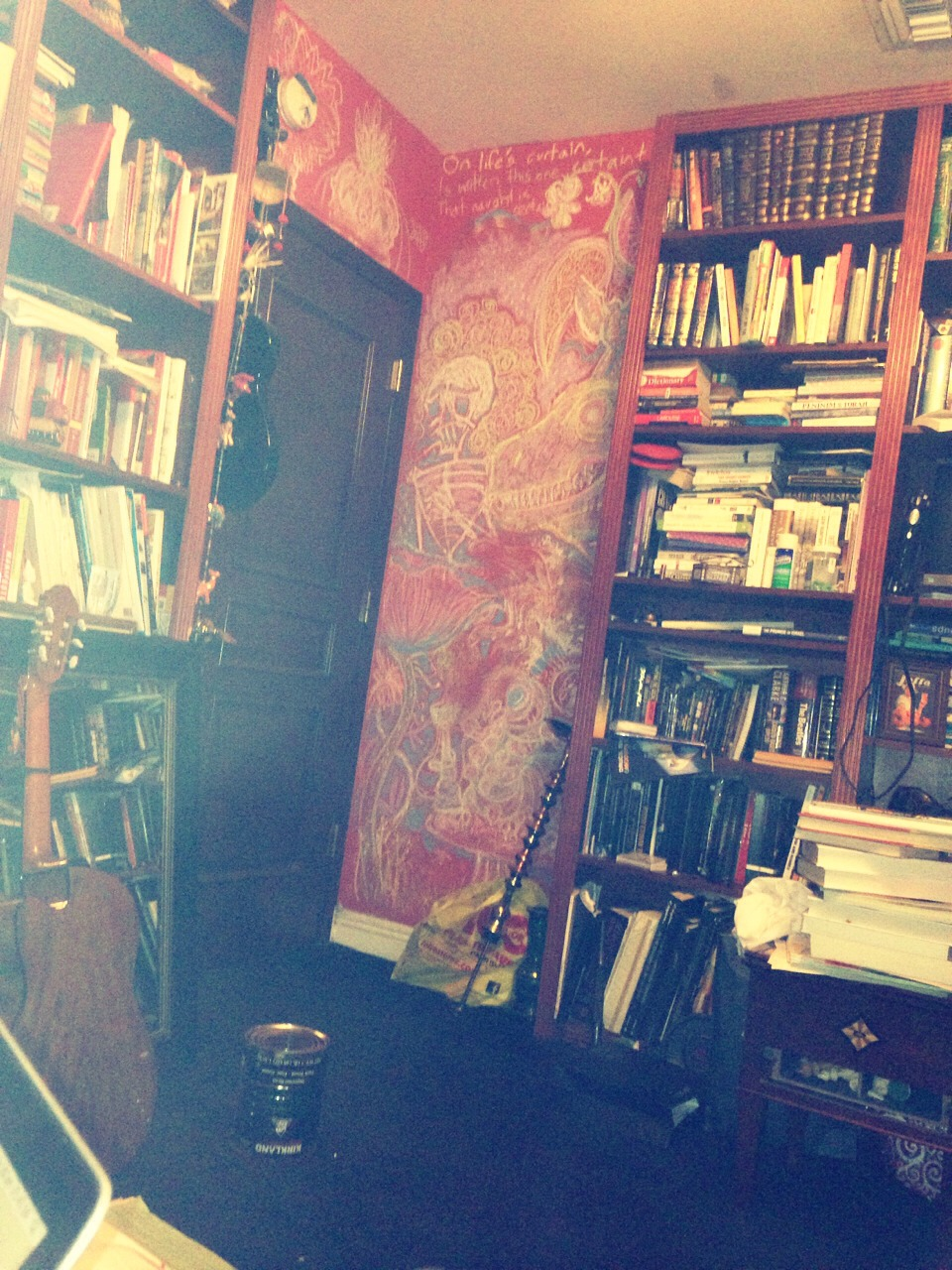 That's a room. Don't read a book, draw on the walls, play an instrument. PLAY ON YOUR IPHONE! It's way more fun!