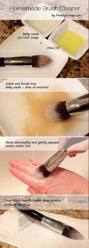 Olive oil with help smooth the brush, and the dish soap will give it a deep cleanse! Remember to wash makeup brushes 1 or 2 times a week to avoid breakouts and the nightmare; acne.