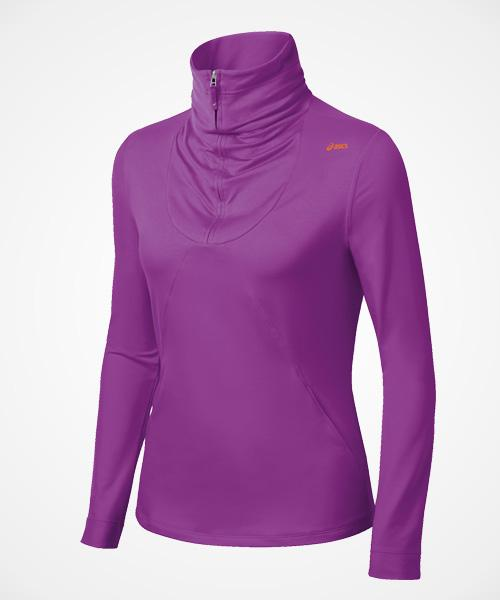 Asics Thermopolis ½ Zip  This may just be the perfect base layer. The material is soft, sweat-wicking, and doesn't feel clingy. Thumbholes mean the sleeves stay put even if you wear multiple layers on top. And u can easily tuck ur chin into the high collar for extra warmth/ warm ur hands in pocket