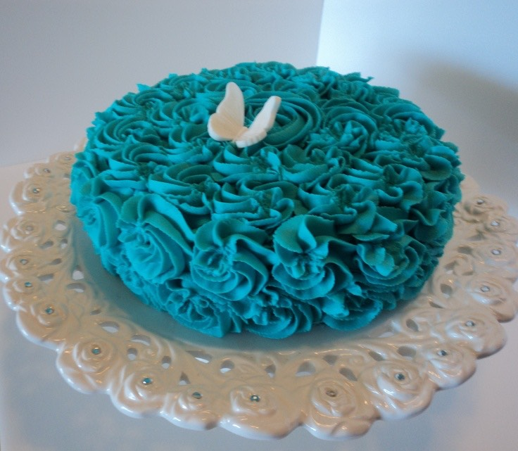 Beautiful blue butterfly swirl cake