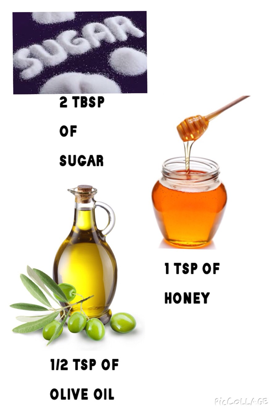 To make the lip scrub you will need: 1/2 tsp of olive oil  1 tsp of honey  2 tbsp of sugar