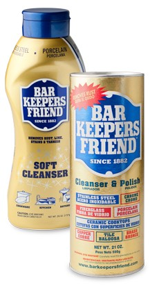 This product comes in a spray, cream and powder. Whichever you choose is fine! You can find it at you local grocery store. I used the cream for my sink and powder for my bathtub because of the sizes.