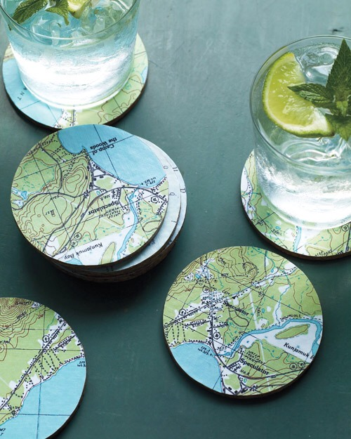 Map coasters you will need: *maps *cutting mat *round cork coasters, in natural *craft knife *foam paint brush *glue sealant
