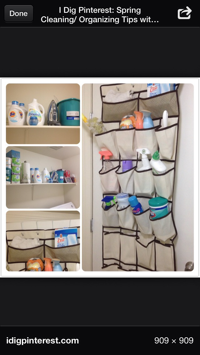 Your cleaning supplies can be organized and easy to find 👌.. You can add some hooks and hang little sticky notes to write yourself   a note for any reminders when your cleaning supplies are running low you'll avoid to run  out of anything if you keep track.