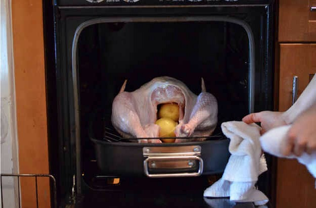 You roast the turkey at one temperature, instead of starting it in a really hot oven and then lowering the heat.   Roast your turkey at 475°F for the first 30 minutes, and you'll crisp the skin by rendering the fat out quickly. After 30 minutes, turn down your oven temperature to 350°F for the rest