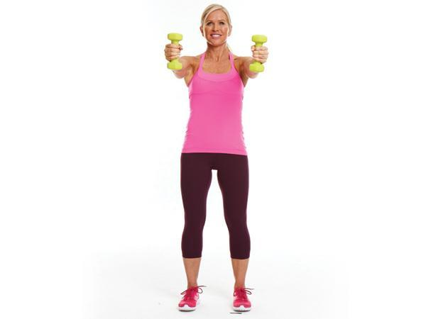 Week 3: Cross-Behind Lunge with Tank-Top Toner Targets: Legs, butt, and shoulders  Stand with feet hip-width apart, holding 1 dumbbell in each hand, with arms extended at sides & palms facing body. Cross right leg behind left bend knees, lowering body until left thigh is nearly parallel tofloor.