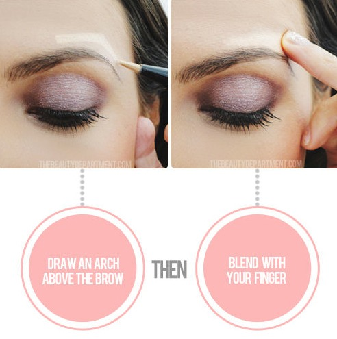 Draw an arch directly above your eyebrow with your favorite highlighter, and blend with your finger.