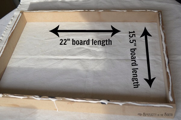 5. Primer is optional. If you are using a lighter colored fabric, I recommend priming the frame so the wood does not show through. Directions: Put a thin strip of wood glue along the top edge of the strips of wood.