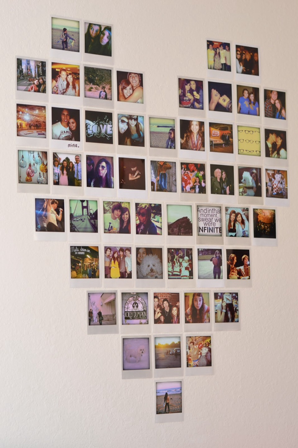 Get some of your fav photos developed and arrange them on the wall in to a. Musely