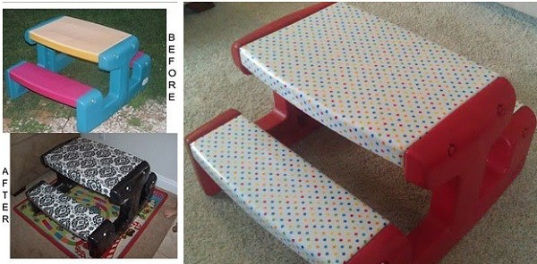 For an easy outdoor bench cover a small bench in oilcloth to make it waterproof!