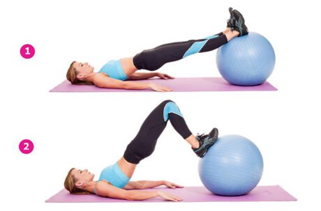 *STABILITY BALL LEG CURLS*  Set: 2   Do 30 Rest: 15 secs