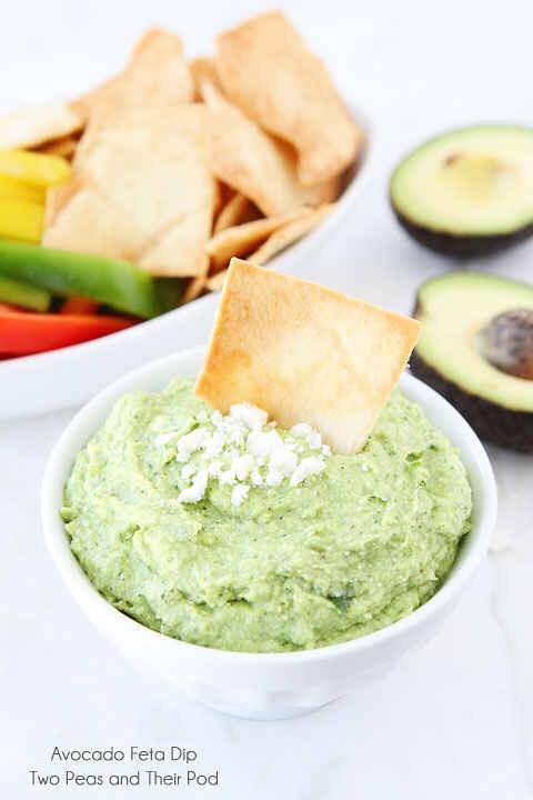 Avocado feta dip! http://www.twopeasandtheirpod.com/avocado-feta-dip/#_a5y_p=1028180