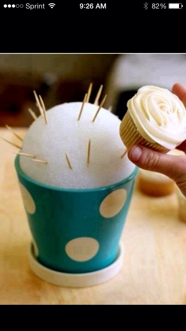 Sticking tooth picks into styrofoam then sticking the cupcakes on the tooth picks makes a bouquet of cupcakes!