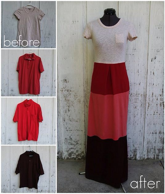 DIY T-shirt Maxidress . 👗😍 I really like this project for all of my great fitting tees that are no longer wearable because of my unfortunate hole problem. And, the skirt portion can be made from large men's shirts; pick them up at a thrift store for just pennies!