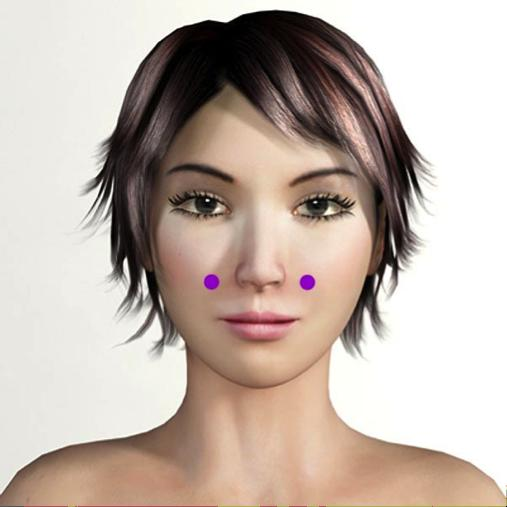 facial beauty point:Improve skin circulation, facial swelling, eye puffiness and skin toneAt the bottom of your cheekbone, imagine a line going downward from your pupils to where it meets the base of your cheekbone. Apply pressure here for a few minutes.