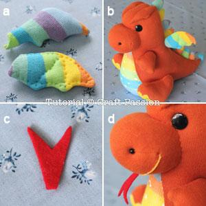 a.) Hand sew the wings with tidy running stitch to resemble a bat wing. b.) Sew to attach them on the back of the dragon, about 1″ to 1 1/4″ from the spikes. c.) Cut the red felt to make a snake tongue. d.) Sew it on the snout. Embroidery branch stitch on the snout to make a smiley mouth.