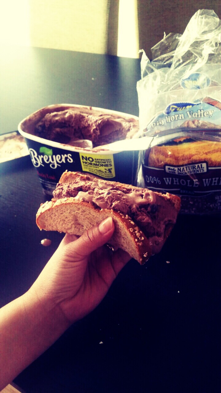 Whole wheat bread stuffed with rocky road ice cream (my fave!)You can have any  ice cream flavor you want. Just enjoy it!