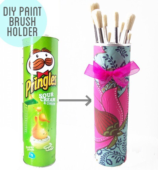 Use empty Pringles can to make brush holder or pencil holder. You can also cut them to match the height of pencils. Or decorate them to make them look pretty.